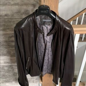 John varvatos chocolate brown leather jacket